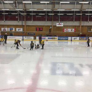 Hockeyskolan spelar mini-match i pausen när Wings möter Huddinge 22/10-2017